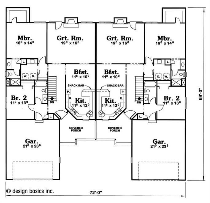 Multi Family Plan 120 1891 2 Bedroom 1455 Sq Ft Country Multi Unit Tpc Duplex Floor Plans Duplex Plans Multigenerational House Plans