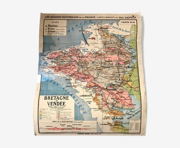 Carte Bretagne Vendee.Carte Scolaire Ancienne Bretagne Et Vendee Regions