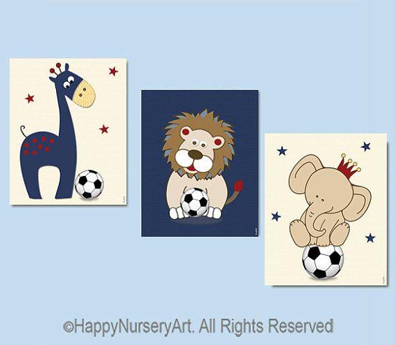 Soccer nursery art safari animals navy blue red by HappyNurseryArt, $34.00