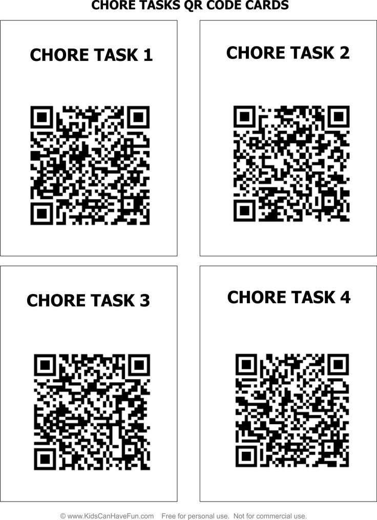 Chore Task Cards with QR Codes. Print and have the kids choose a card, scan the QR code to see what task they have for the week. Eight Chore Cards to choose from  http://www.kidscanhavefun.com/qr-codes-for-kids.htm #chores #tasks #qrcode