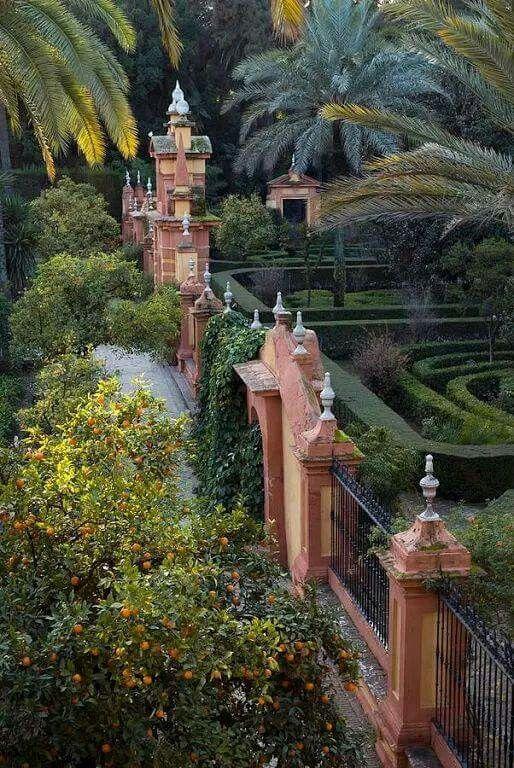 The gardens of the Alcazar Palace - Seville, Spain