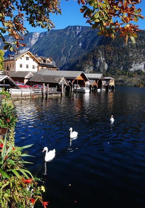 The world's most lovely lakeside town.  Hallstatt, AUSTRIA.