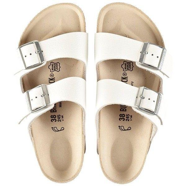 birkenstock arizona sandals ($129) ❤ liked on Polyvore featuring shoes, sandals, flats, shoes - sandals, flat shoes, birkenstock shoes, flat pumps, birkenstock sandals and birkenstock
