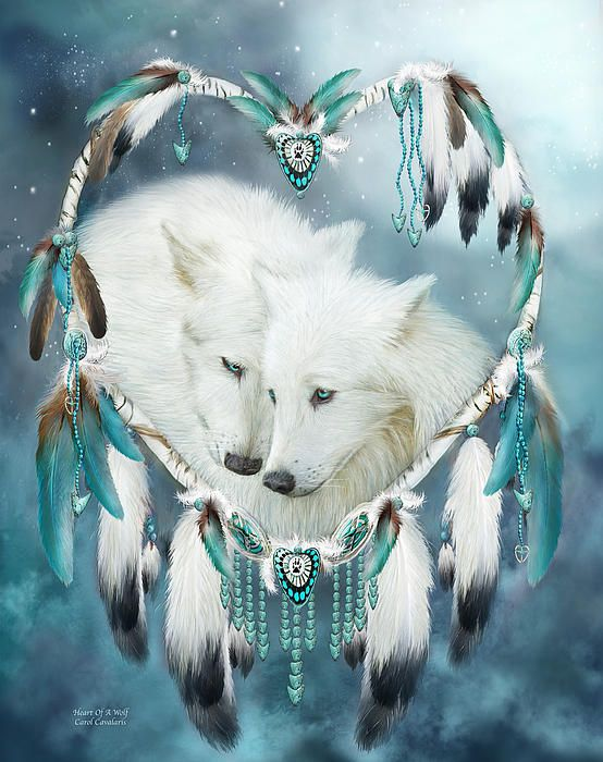 Never underestimate the Tenderness Affection Loyalty Love Beating within the Heart Of A Wolf.  Heart Of A Wolf prose by Carol Cavalaris  This artwork of white wolf mates within a heart-shaped dream catcher is from the Dream Catcher Collection of art by Carol Cavalaris.
