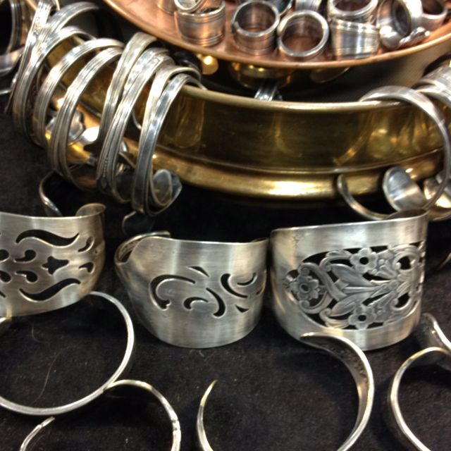 Silver jewelry made from silver flat ware.