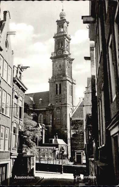 1950's. View on the Westerkerk in Amsterdam seen from the Eerste Leliedwarsstraat. The Westerkerk was built in 1620-1631 in the Dutch Renaissance style after a design by architect Hendrick de Keyser. The church was one of the first purposely built Protestant churches. Other older churches like the Noorderkerk and Zuiderkerk were Roman Catholic churches that were converted to Protestant churches after the Reformation in 1578. Photo Greven Durgerdam. #amsterdam #1950 #Westerkerk
