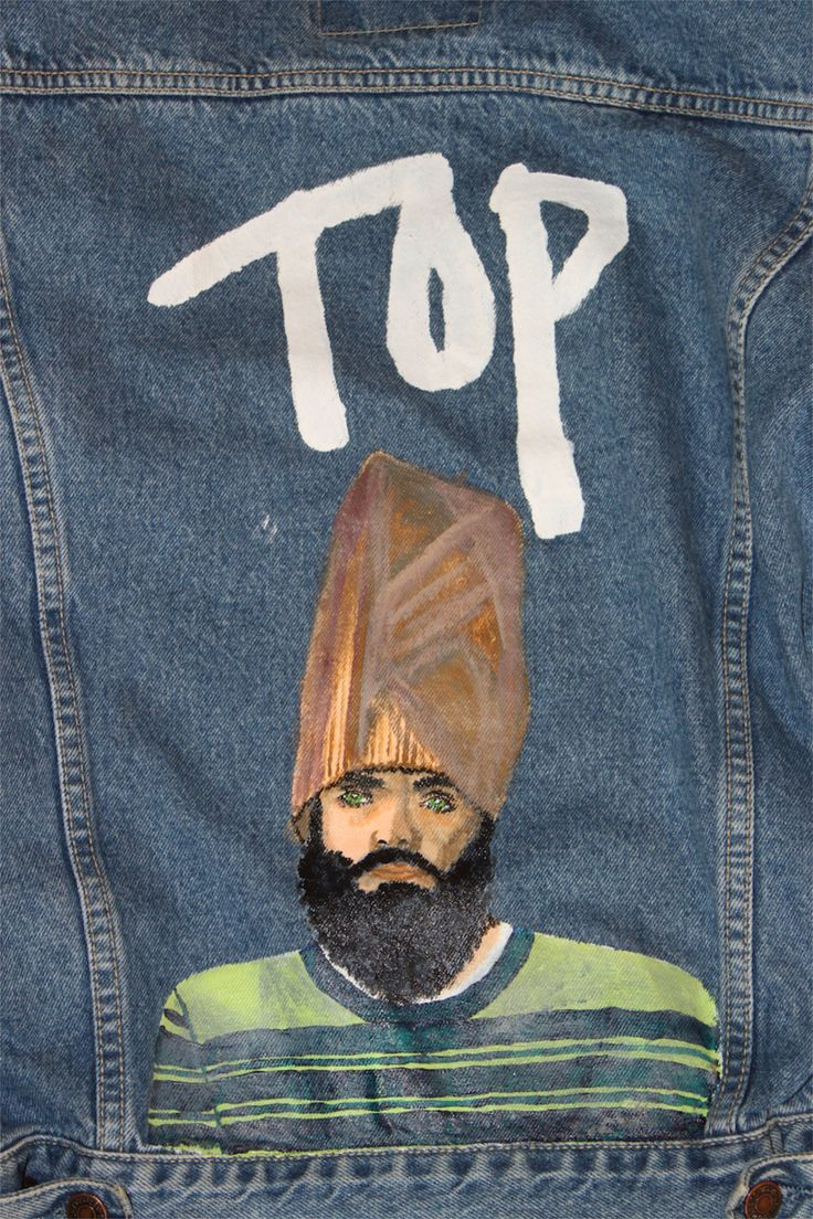Get the jeans of the genius with this one of a kind, hand painted, paper bag hatted character, painted by Camille Stone.  The jacket is meant to be worn oversized.  Marked size is L.  Vintage Levis denim jacket.  Upcycled in Italy.   For laundering, turn the jacket inside out and wash in co...