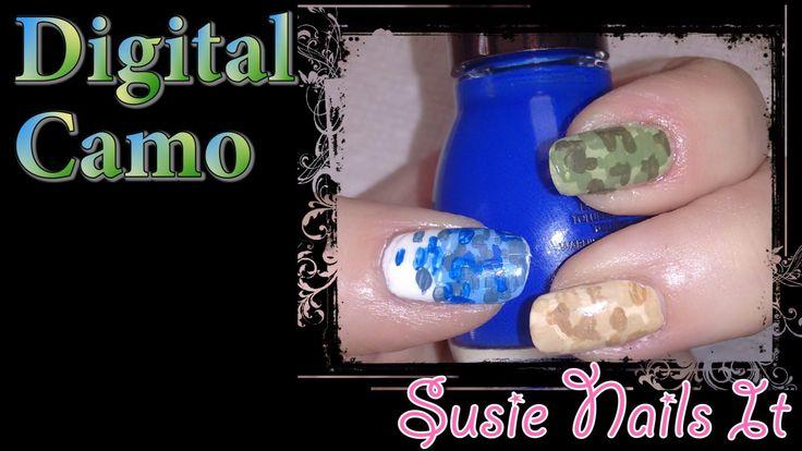 Digital Camo (acrylic) nail Art Design