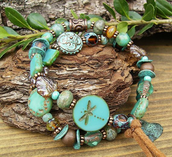 Turquoise Bracelet Set Rustic Eclectic Glass and Copper