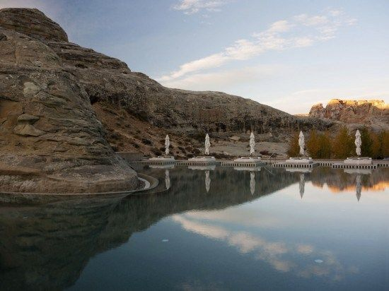 A luxury pool, carved into Utah stone