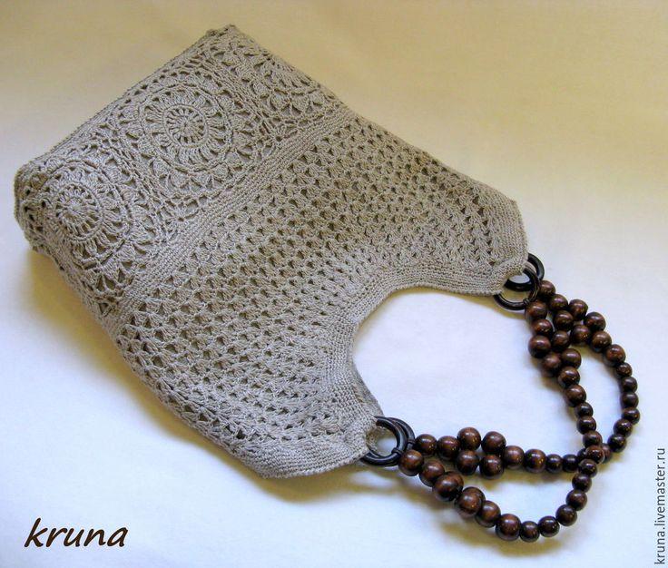 Купить Сумка женская из льна с вязаным кружевом - серый, цветочный, кружевная сумка