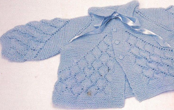 Receita Tricô Fácil   Receita Completa com Gráfico Casaquinho Bebê Queda de Folhas       casquinho bebe-receita trico fácil-receitas de ...