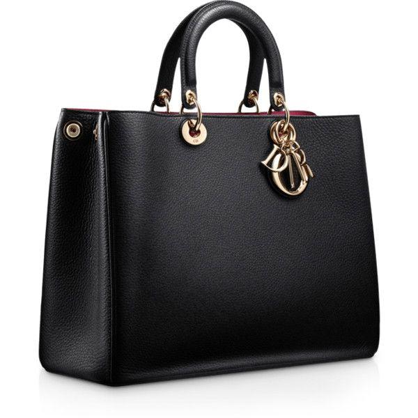 DIORISSIMO Large black leather 'Diorissimo' bag ❤ liked on Polyvore featuring bags, handbags, bolsas, purses, borse, leather man bags, handbags purses, leather handbags, leather purses and leather purse bag