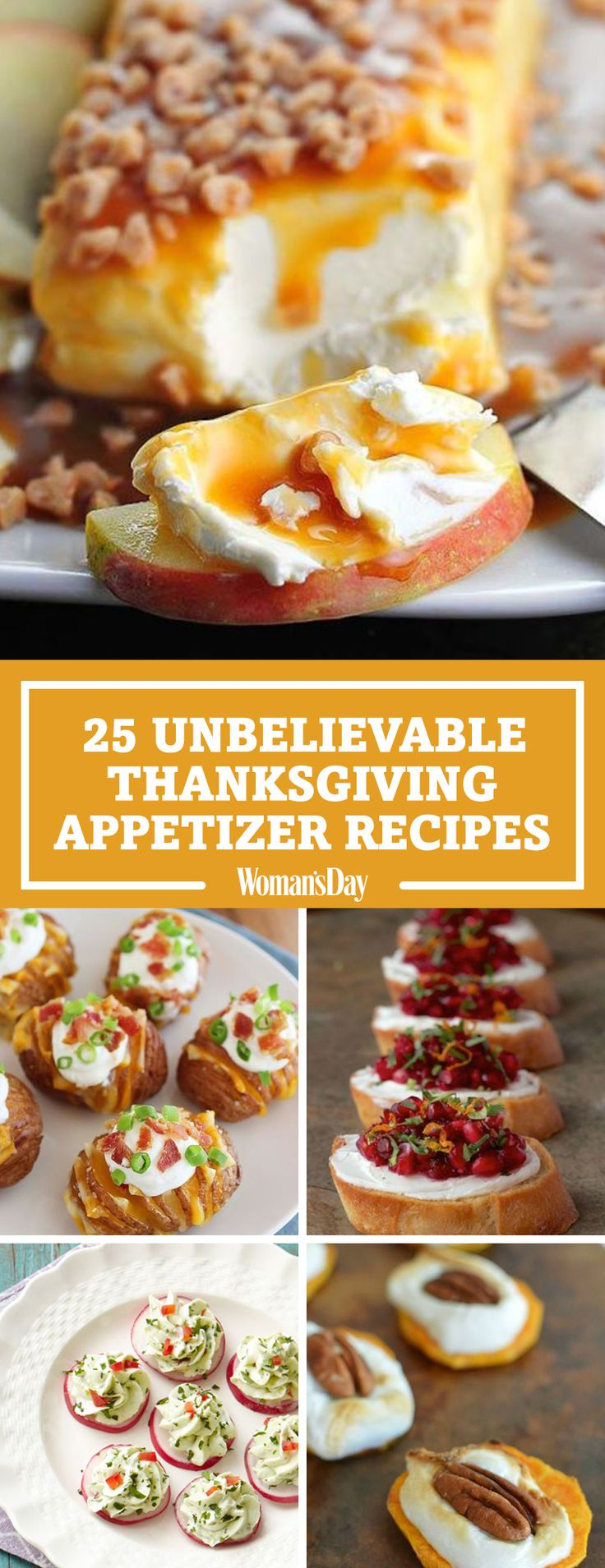 Your guests will have a lot to be thankful for when they try these delectable Thanksgiving appetizers. Make caramel apple cream cheese spread or crispy loaded Hasselback potato bites for your Thanksgiving dinners this year.
