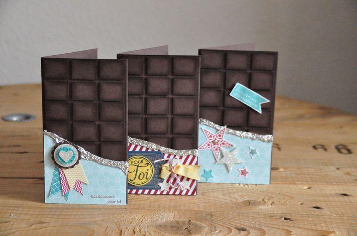 Tutoriel carte tablette de chocolat par Marie Meyer Stampin up - http://ateliers-scrapbooking.fr/