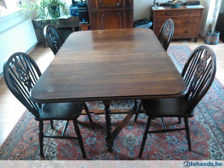 Antieke Engelse Gateleg tafel + 4 Wheel Windsor stoelen - Te koop
