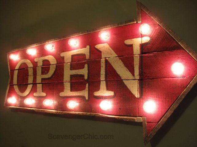 Illuminated arrow open sign by Scavenger Chic, featured on FunkyJunkInteriors.net