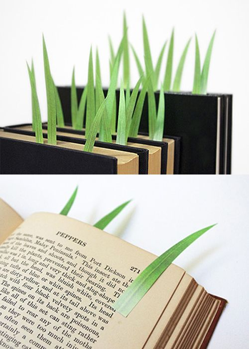 Greenmarkers, leaf-shaped page markers.