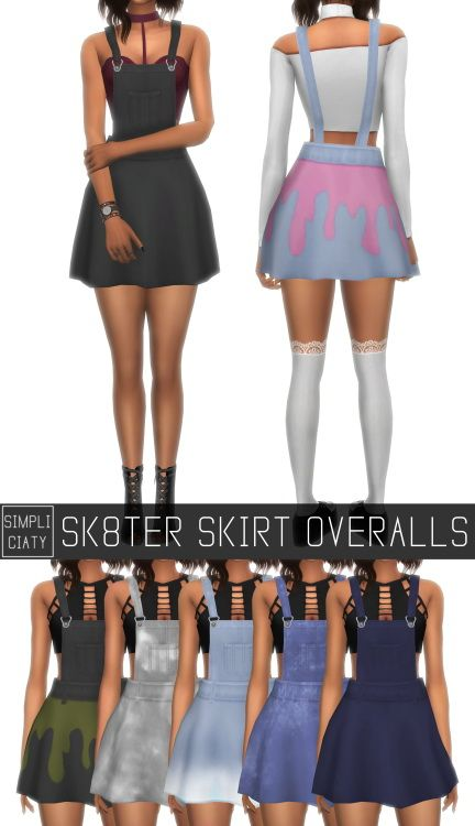 Simpliciaty: Sk8ter skirt overalls • Sims 4 Downloads