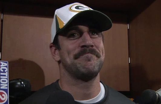 Yep. It's a good look and he knows it. | A Tribute To Aaron Rodgers, King Of Movember
