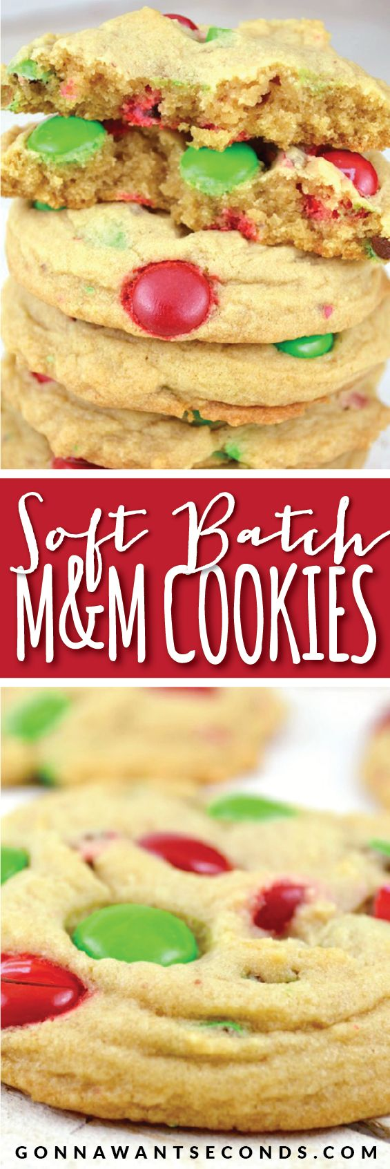 Secret Ingredient Soft Batch Holiday M&M Cookies. Soft, Chewy and FLUFFY! Greatest Christmas Cookies!