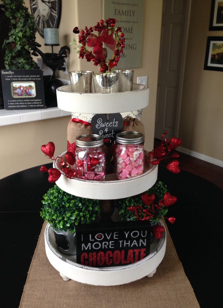 3 tier stand from HomeGoods...everything else from Michaels. Valentine's Day fun!