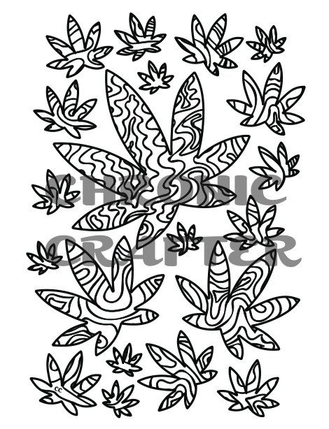 marijuana leaves swirls coloring page from by chroniccraftsupplies - Cannabis Coloring Book