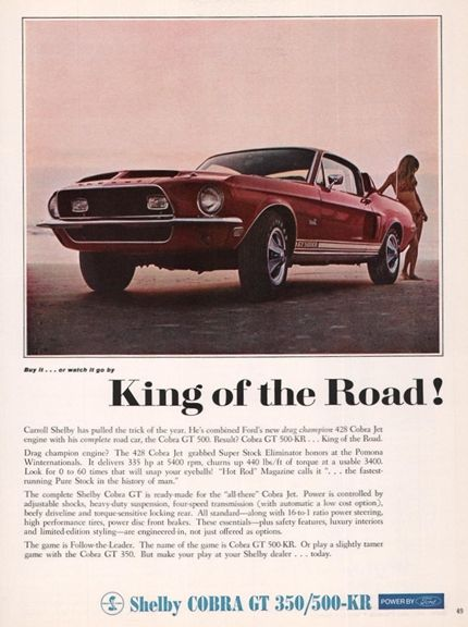 1968 1969 Ford Mustang Shelby Cobra GT 350 King Road Ad
