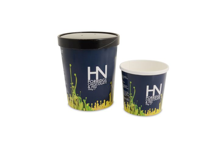 Custom printed compostable containers for Harvey Nichols. Used for porridge but can also be used for soup and ice cream