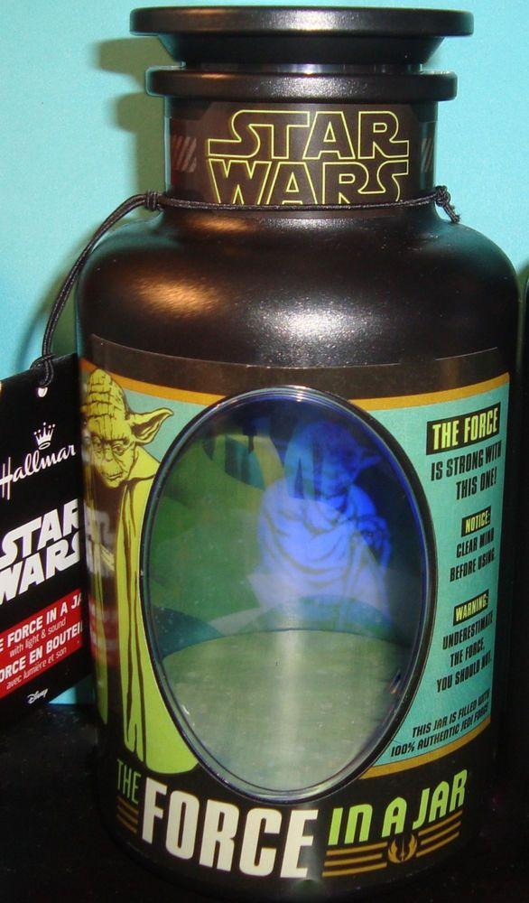 Hallmark Star Wars THE FORCE IN A JAR w Light & Sound Talking Yoda Holagram NWT #HALLMARKDISNEY
