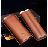 BROWN LEATHER CIGAR CASE HOLDER CASE HUMIDOR 2 TUBE COUNT PORTABLE
