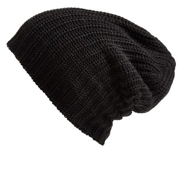 Free People 'Capsule' Slouchy Knit Beanie ($28) ❤ liked on Polyvore featuring accessories, hats, beanie, black, slouchy knit hat, black slouch beanie, slouchy hat, slouch hat and black hat