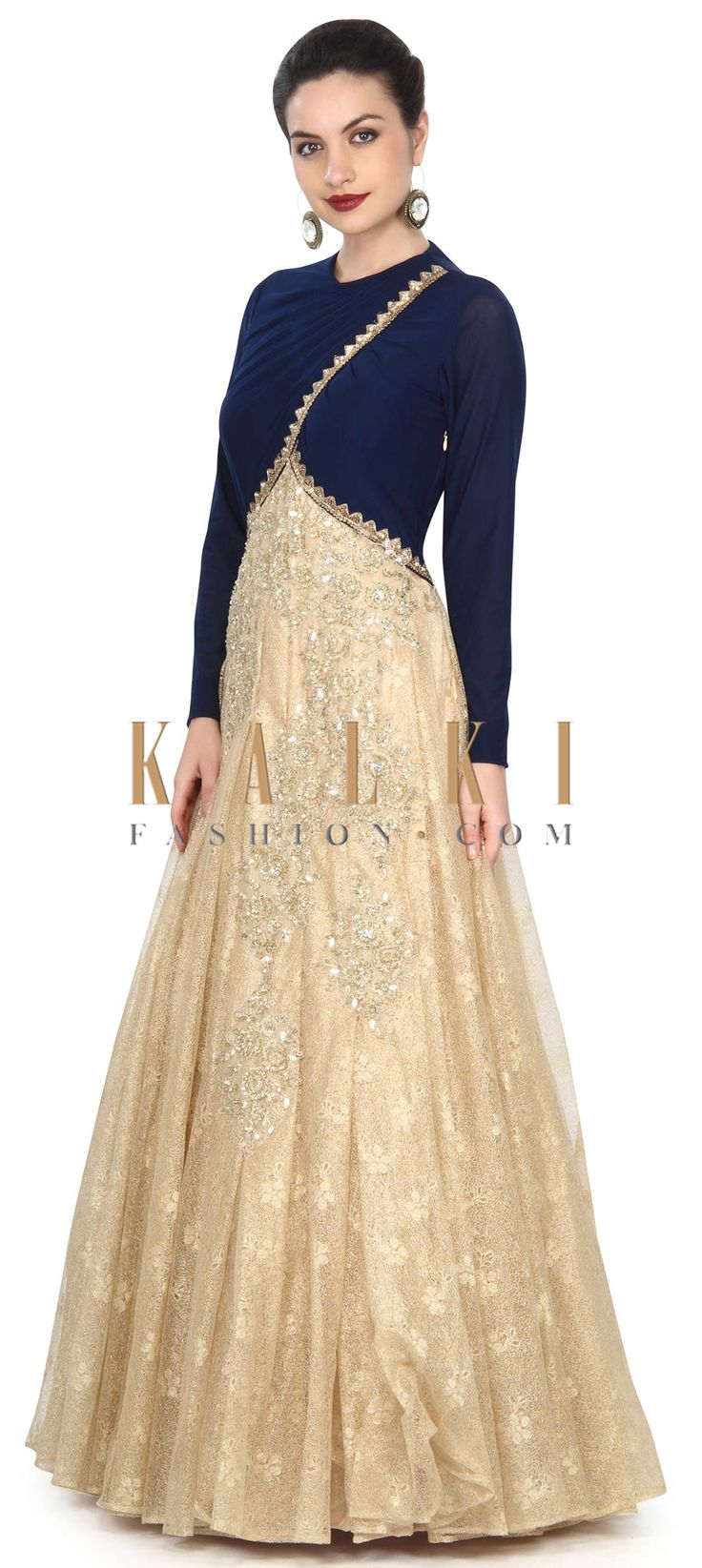 Buy this Gold and navy blue gown adorn in pleats and sequin work only on Kalki