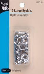"Eyelet Refills 1/4"""" 15/Pkg-Nickel by Dritz. $3.72. Eyelet Refills 1/4"" 15/Pkg-Nickel. DRITZ-15 large eyelets size 1/4. For belts shower curtains tote bags and pillows. Use eyelets to create laced effects on garments and craft projects. Can also be applied to heavy paper for scrapbooking or note cards."