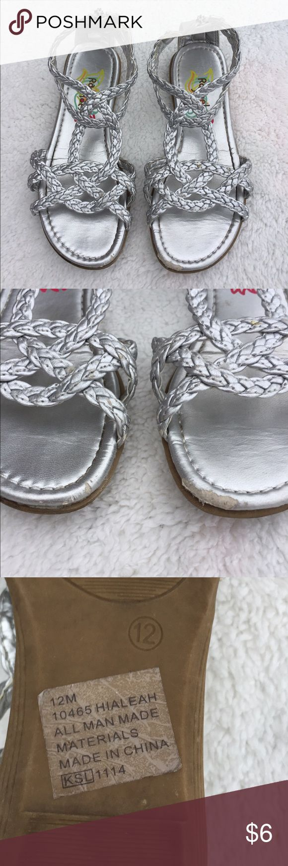 Girls silver sandal Only scuff are on toe as shown. Could be colored with silver sharpie. Shoes Sandals & Flip Flops