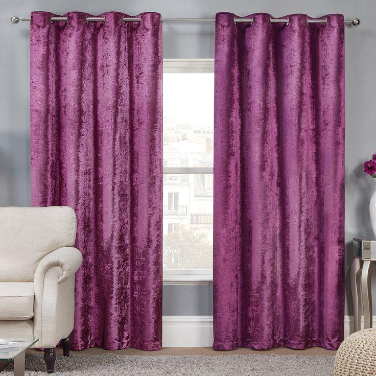 Elegance Allure Plum Crushed Velvet Luxury Eyelet Curtains