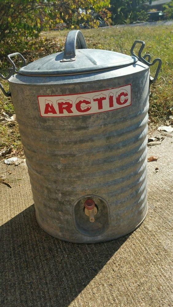VINTAGE ARTIC COOLER GALVANIZED METAL COOLER -2 HANDLE - 5 GAL & CUP HOLDER #ArticBoy