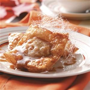 Pumpkin Wontons with Butterscotch Sauce Recipe -As a change from the usual pumpkin pie or cake, we created these deliciously different wontons. The butterscotch sauce would also taste great over ice cream. —Taste of Home Test Kitchen