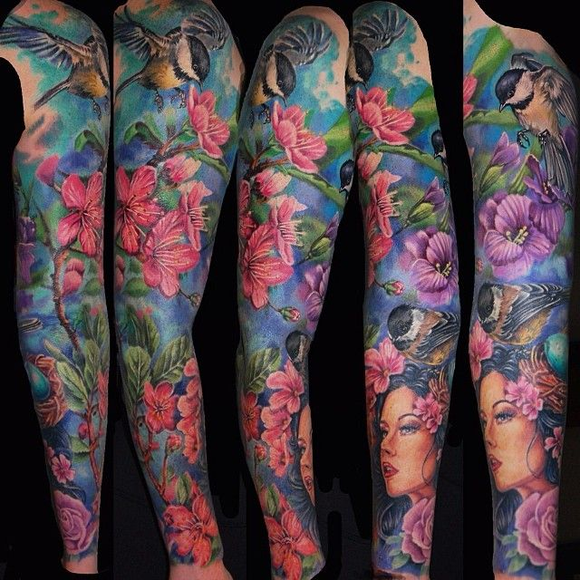 "Colored Sleeve Tattoo Of Birds: ""Finished Up This Bird Flower Sleeve Today!! Stoked To Do"