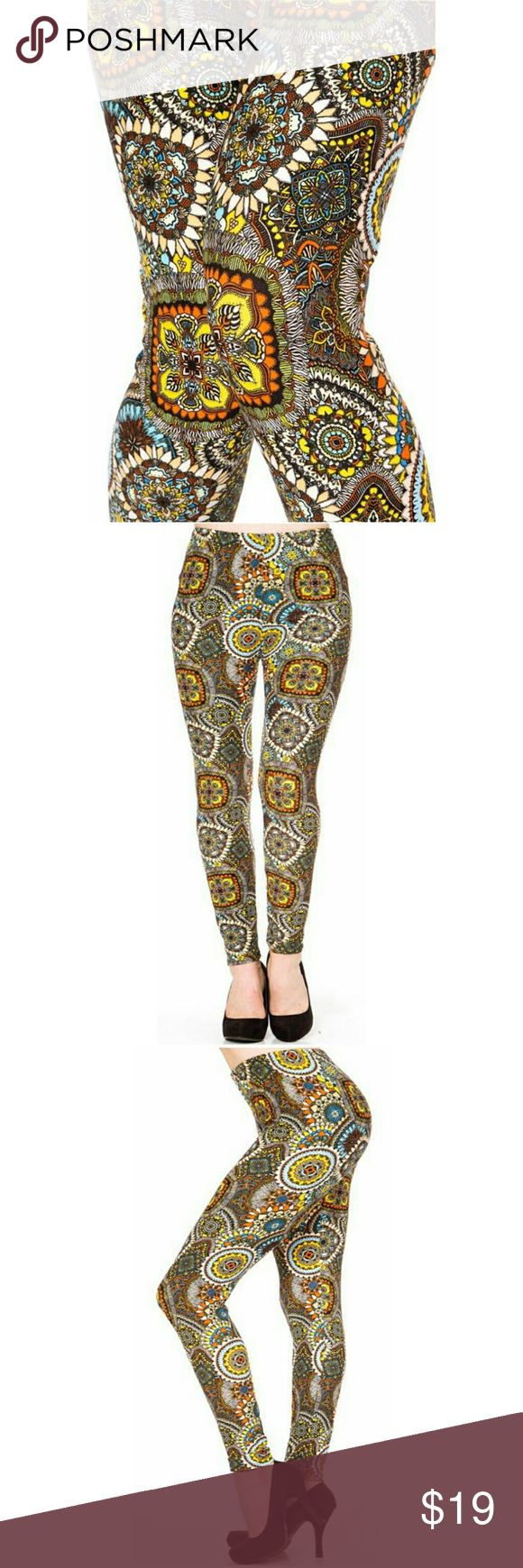 "(Plus) Curvy Tribal Print Leggings Peachskin print full leggings. Tribal mustard yellow and orange  abstract  print. Highwaisted with 1"" Wide elastic waistband. Very soft. Great to wear dressed up with heels or casual with tennies. New in package.(N216)  L 37"" I 27"" R 10. Fits XL to 2X (14-22) comfortably. One size BohoBeauRoseBoutique Pants Leggings"