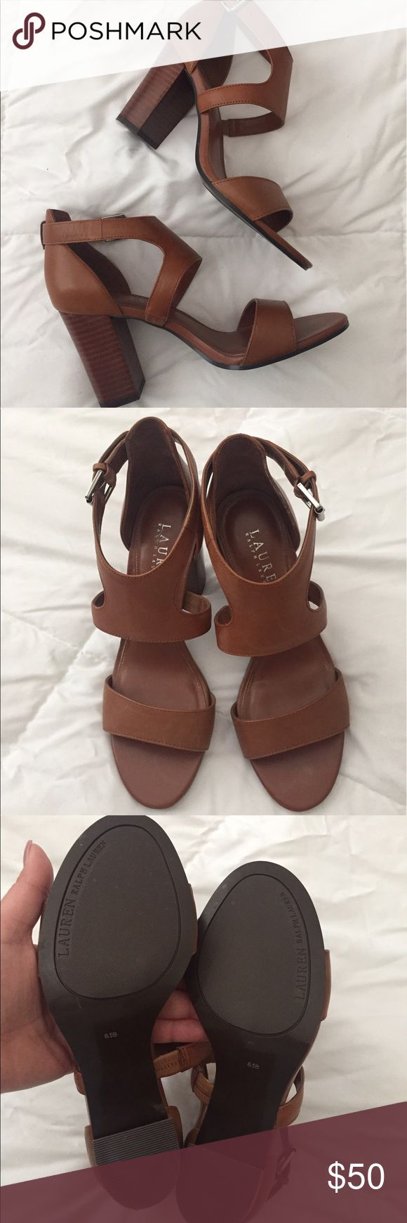 Ralph Laurent luggage thick heel sandals Super cute and comfy Ralph Laurent luggage thick heel sandals. Floor models. In great condition. Lauren Ralph Lauren Shoes Sandals