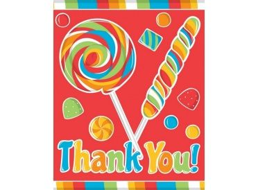 Candy Print Thank You Notes, Package of 8 Cards with Envelopes (Sugar Buzz) - Whish.ca