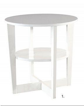 Журнальный столик Столешница - плита МДФ, полка - плита ДСП, ножки - деревянный массив, покрытие - белый глянцевый лак