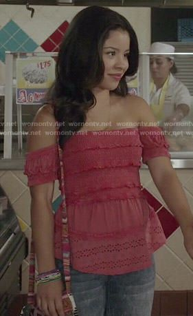 Mariana's pink ruffled off-shoulder top on The Fosters.  Outfit Details: http://wornontv.net/49801/ #TheFosters