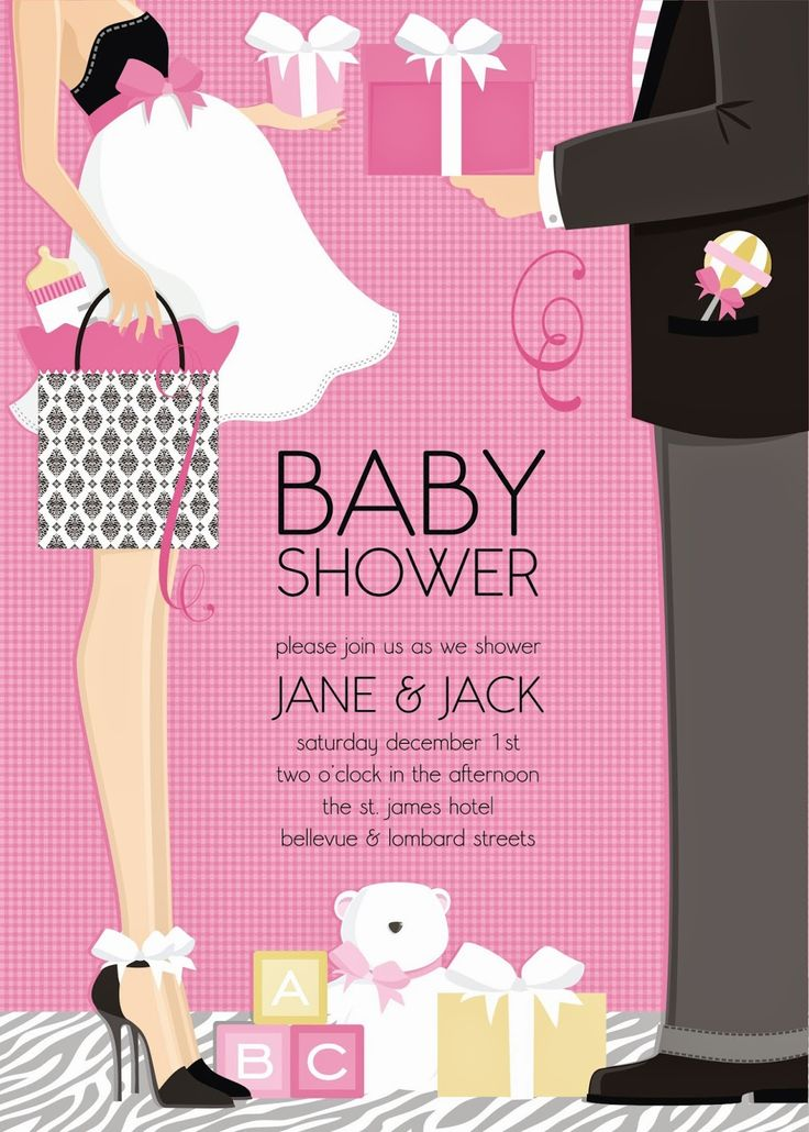 clever baby shower invitation wording%0A Classic Couple Baby Shower Invite from Doc Milo