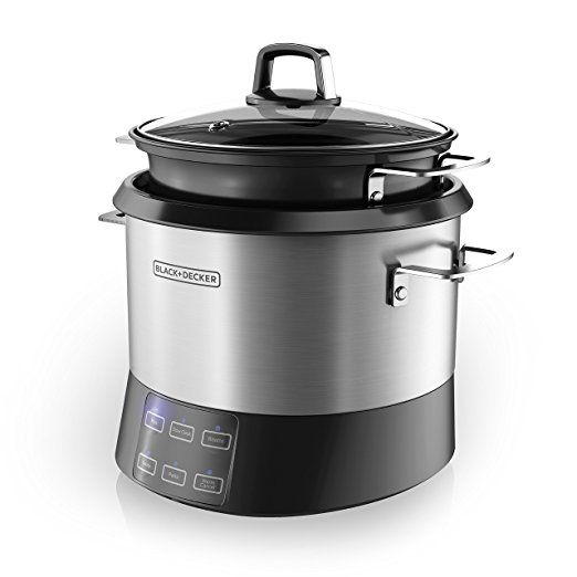 Amazon.com: BLACK+DECKER SCD4007 7 Quart Programmable Slow Cooker with Digital Timer, Portable Slow Cooker with Locking Lid, Chalkboard Surface (Chalk Included): Kitchen & Dining