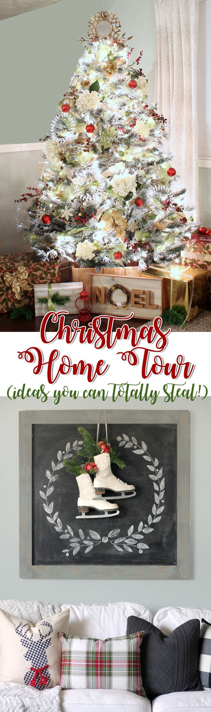 Tons of affordable Christmas decorating ideas in this 2016 holiday home tour. The tree topper idea is genius and I love the vintage wooden sign too. I'm loving all the DIY Christmas decor inspiration!