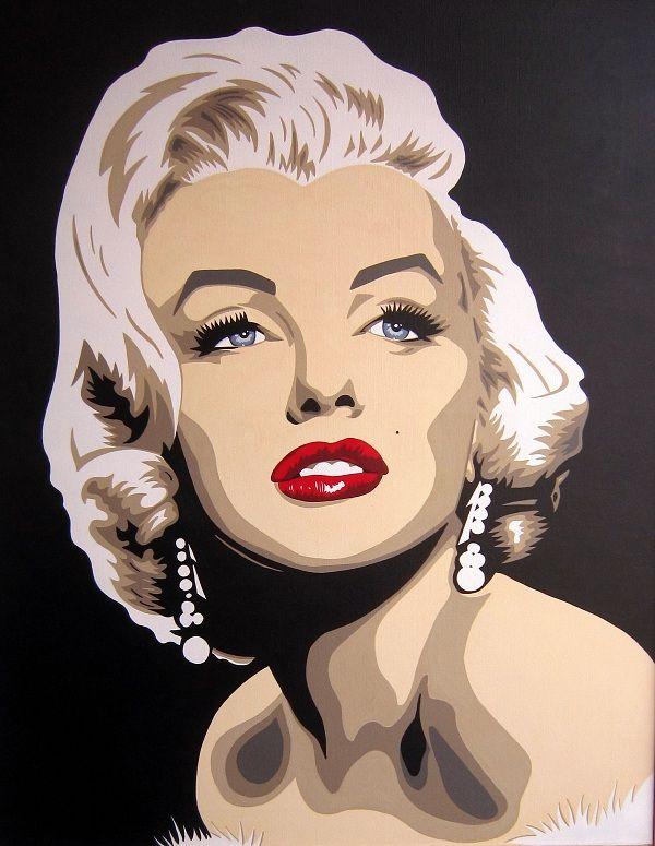 MARILYN MONROE. Cuadro realizado a mano por DOMINGO VERA POP ART. Técnica: Acrílico sobre lienzo. 81 X 65 cm.