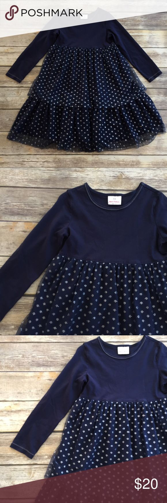 Hanna Andersson Tulle Dress Navy blue long sleeve dress with glittering polkadots tulle Tiered skirt. Excellent condition. Size 130 Hanna Andersson Dresses