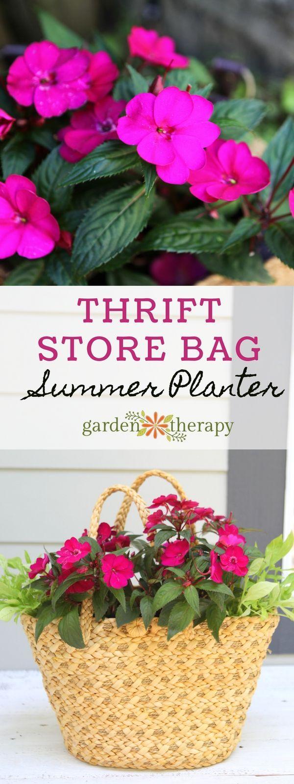 SunPatiens Straw Purse Planter DIY